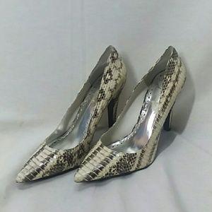 BCBG Faux Snake Skin Heels Size 8.5